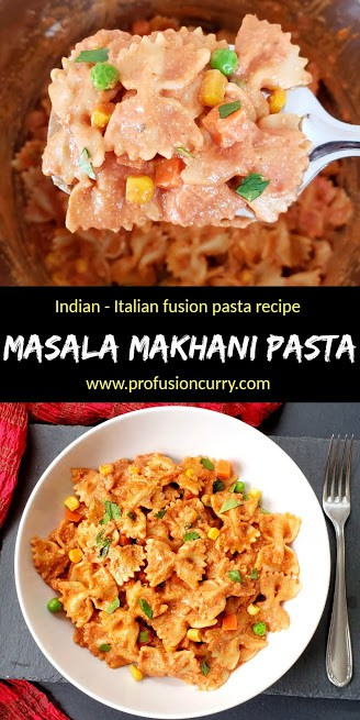 A pinterest image for Instantpot Indian Italian Fusion pasta recipe
