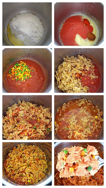 Process shot collage showing steps invloved in making Makhani Masala Pasta in Instantpot.
