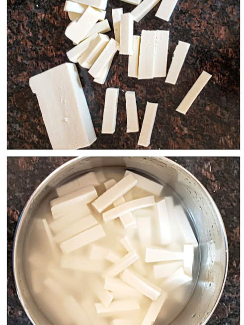 a picture collage showing two images of long stripes of panner and a bowl of paneer soaked in warm water. SOaking in warm water helps paneer stay soft in cooking.
