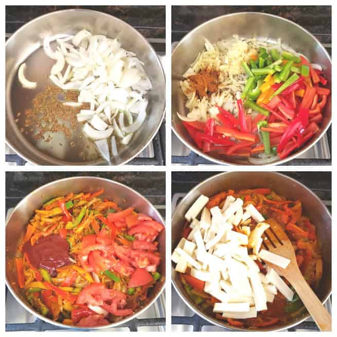 Process shot collage showing four steps involved in making Vegetarian Paneer Jalfrezi