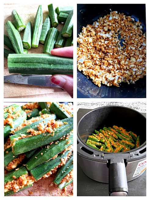 process shot collage showing steps involved in making Airfryer crispy okra recipe.