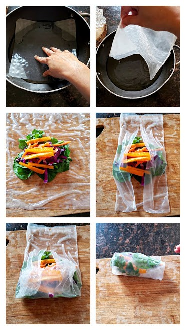 Process shot collage showing steps invloved in making fresh summer rolls.