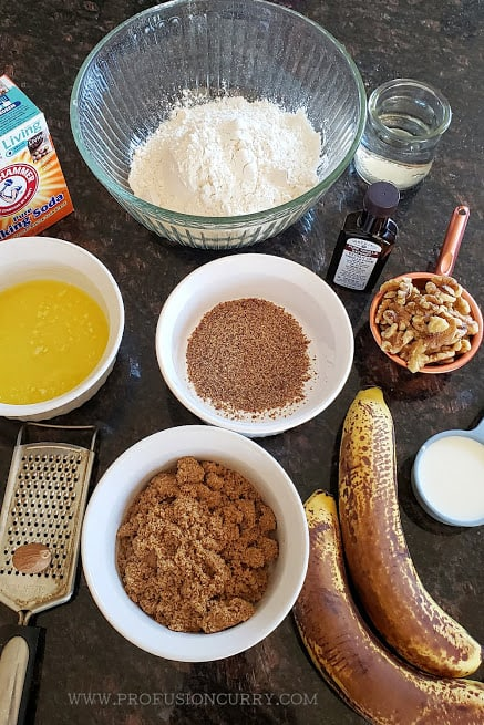Display of ingredients to make the dessert bread recipe.