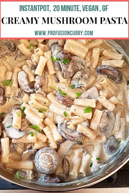 Pinterest image for creamy mushroom pasta