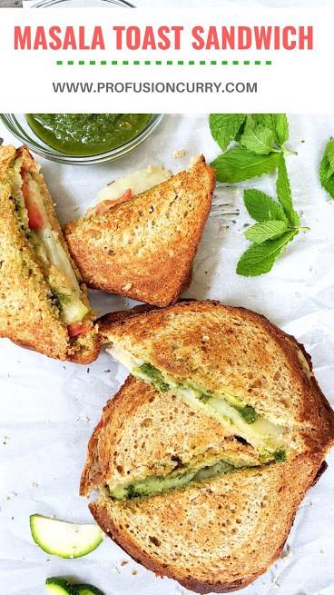 Pinterest image for Masala Toast Sandwich Recipe.