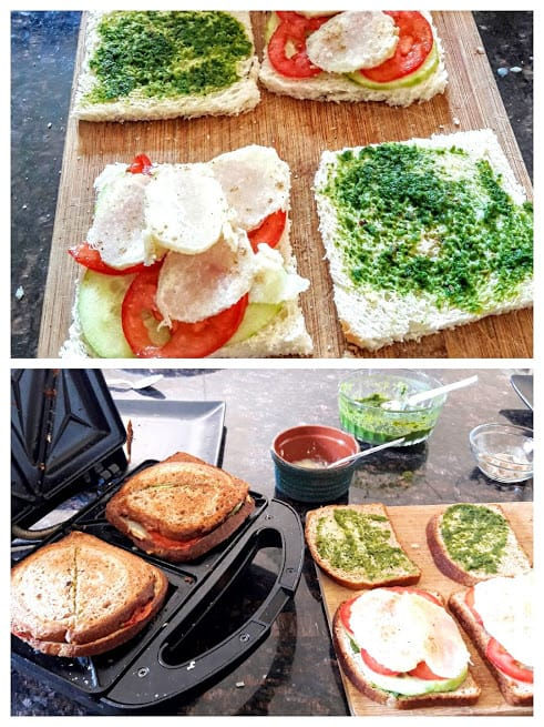 Process step showing how to assemble the sandwich and grill it.