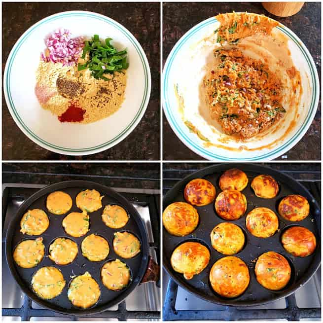 Process shot collage showing steps in making no fry pakoras