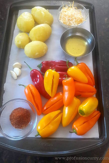 Display of ingredients needed to make cheese and potato stuffed Mini Sweet Peppers.
