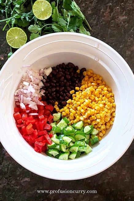 Ingredients needed to make Black Bean and Corn Salad