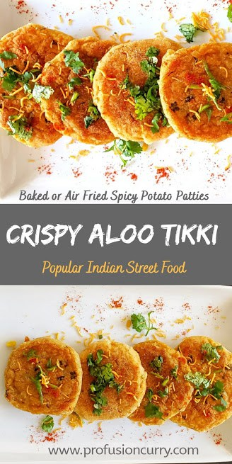 Pinterest image for vegan and gluten free aloo tikki which is spicy potato burger accented with Indian spices.