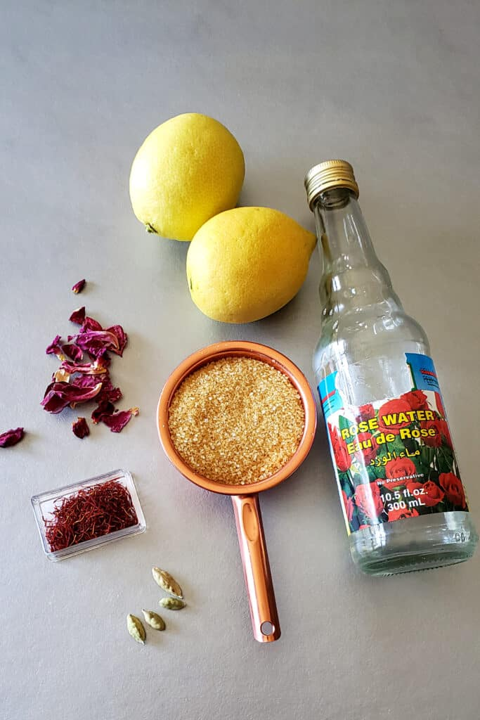 Display of ingredients to make rose and saffron infused lemonade