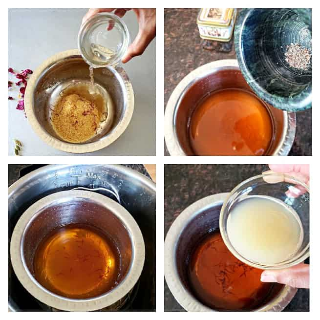 Process shot collage with four photos showing steps involved in making simple syrup and lemonade.