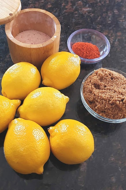Ingredients needed to make Instantpot Sweet Lemon pickle