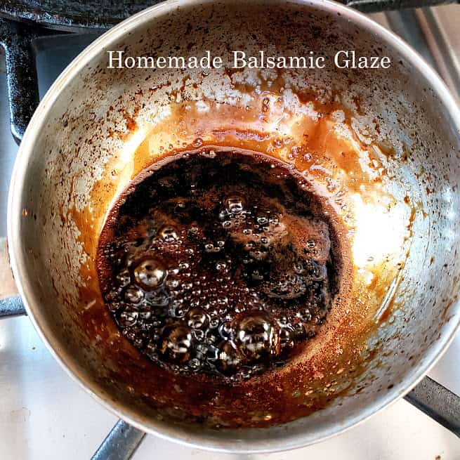 Homemade blasamic glaze getting simmered in the sauce pan.