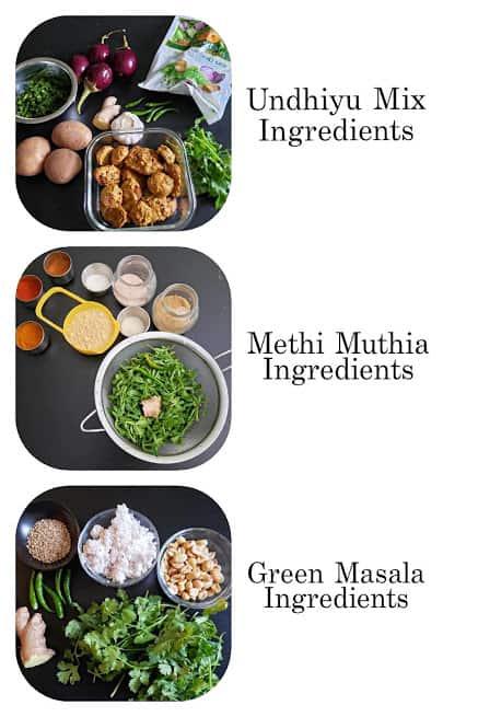 Ingredients needed to make easy Instant Pot Undhiyu recipe