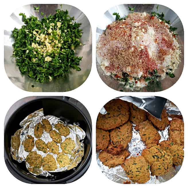 How to make air fryer methi muthia 4 step collage