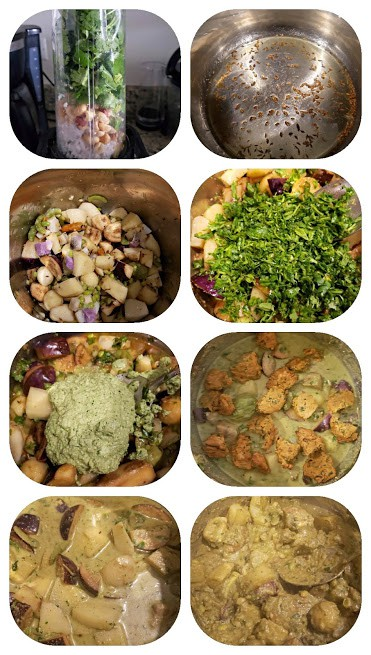 Step by step process collage to make easy Instant pot Surti Undhiyu Recipe.