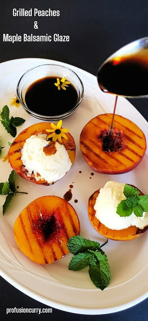 Pinterest image for grilled peaches.