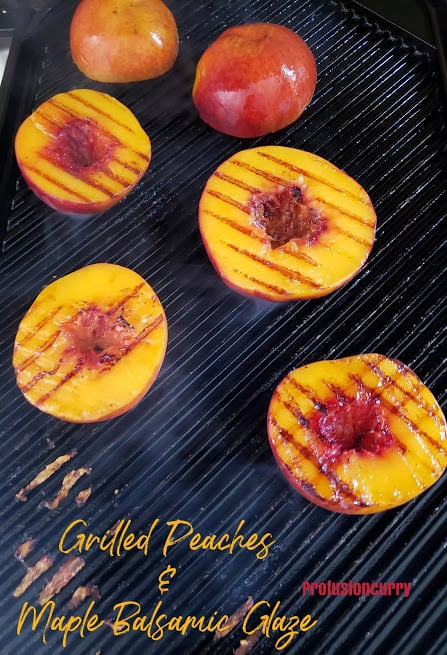 Process shot of cut up peaches over grill.