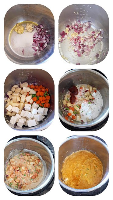 Process step collage showing how to make Thai Massaman Curry at home.