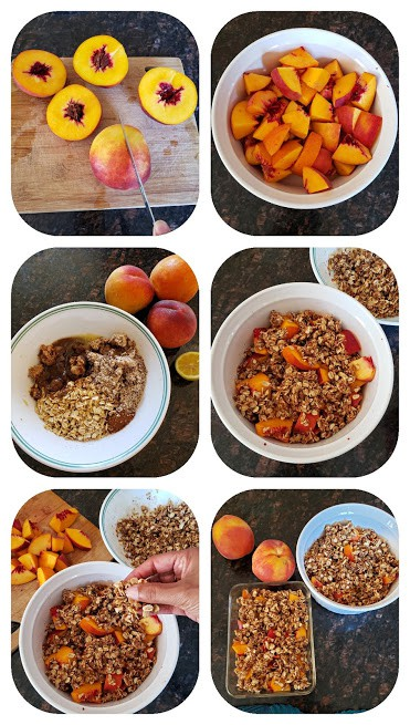 Process step collage showing how to make vegan peach crumble.