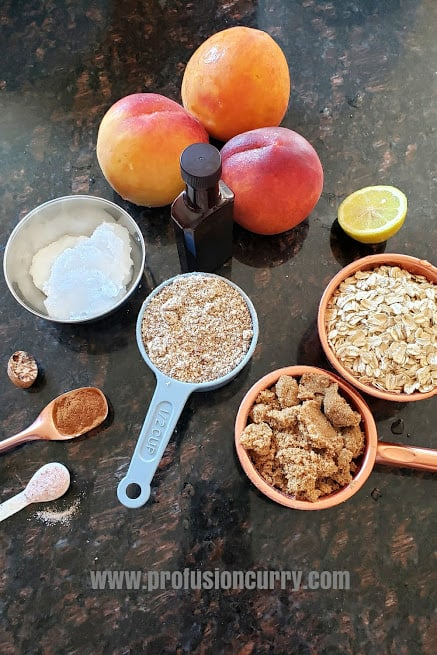 Ingredients used to make vegan and gluten free peach crumble.