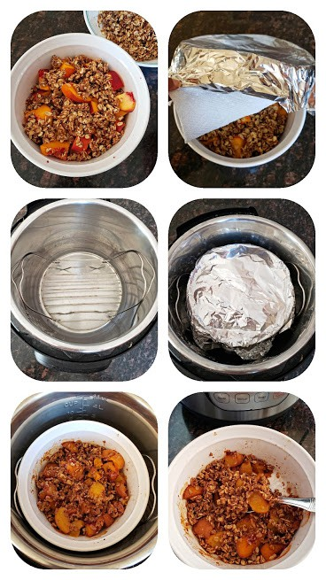 Process step collage showing how to make peach crisp in Instant Pot.