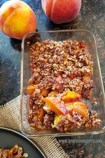Oven baked peach crisp recipe.