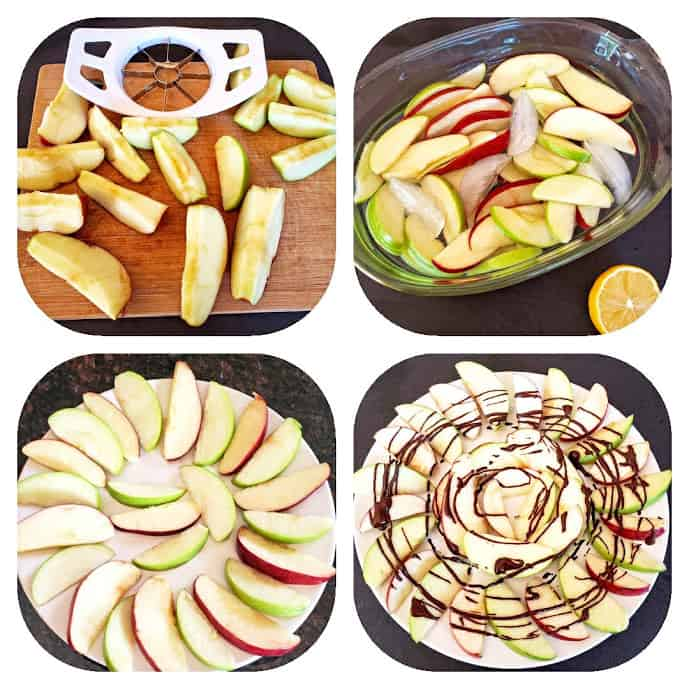 Process step collage showing how to make these easy apple nachos.
