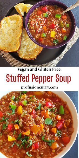 Pinterest image for stuffed bell pepper soup made in Instant Pot.