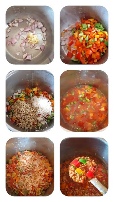 Process shot collage showing 6 steps involved in making this soup recipe.