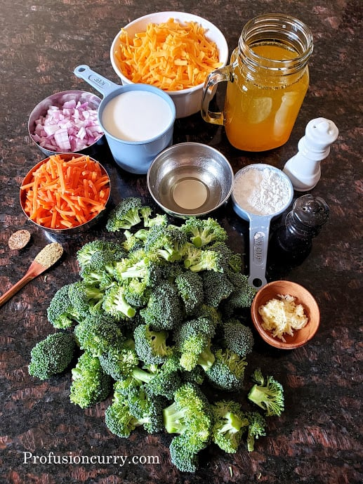 Ingredients used in making this comfort soup recipe.