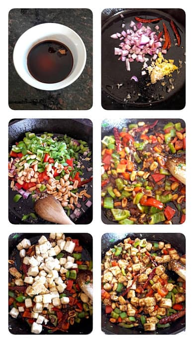 Process shot collage showing how to make kung pao tofu with colorful veggies and peanuts.