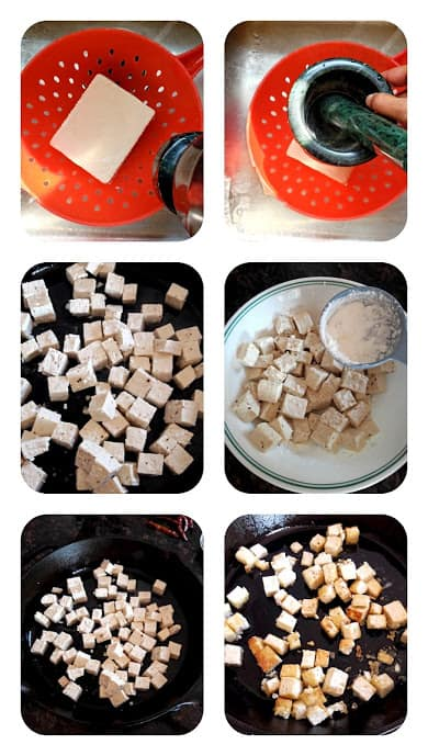 Process shot collage to show how to make crispy tofu.