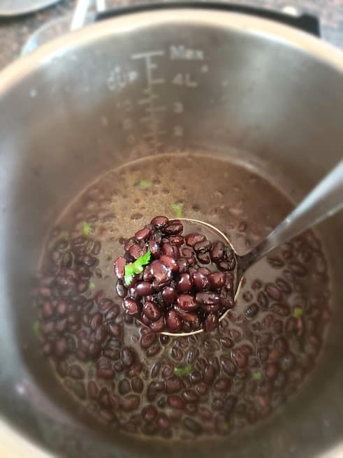 A ladle full of black beans made in Instant Pot.
