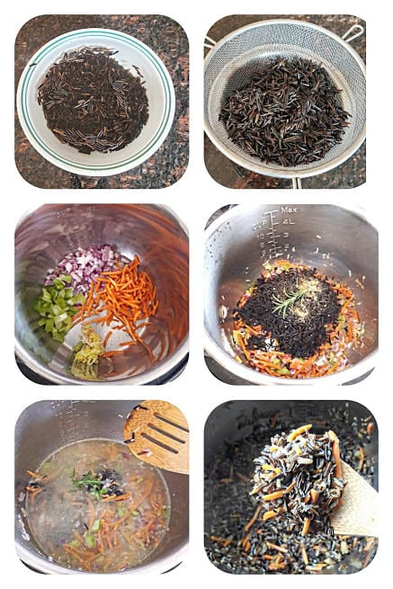 Process step collage showing six main steps involved in making this recipe.