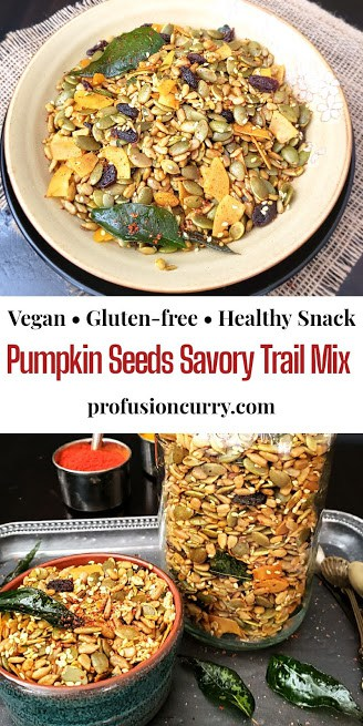 Pinterest image with text overlay for pumpkin seeds savory trail mix recipe.