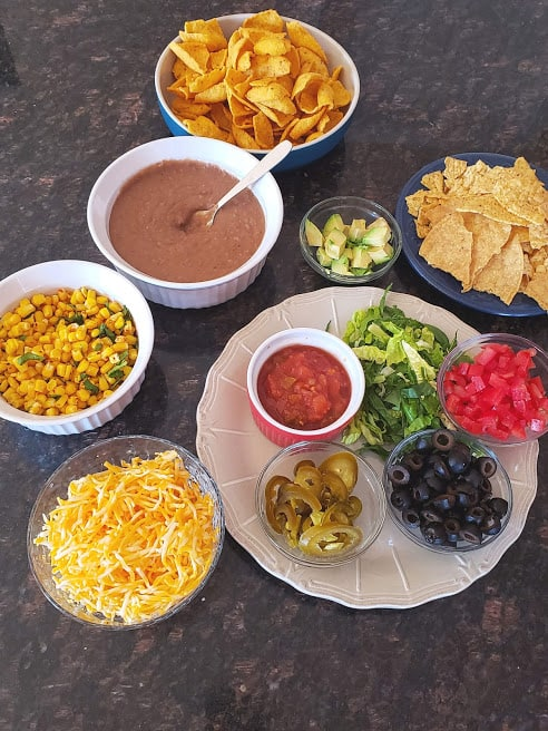 Ingredients used in making 7 layer party dip recipe.