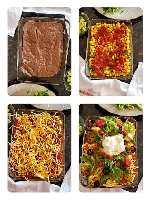 Process shot collage showing steps involved in making this 7 layer party appetizer dip recipe.