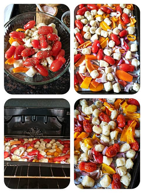 Process step collage showing the steps involved in making this Italian dinner recipe.