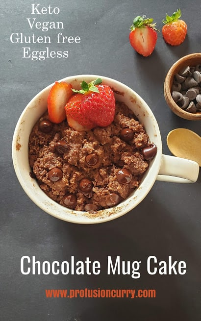 Ovrehead image of the mug full of chocolate cake with strawberry toppings with text overlay.