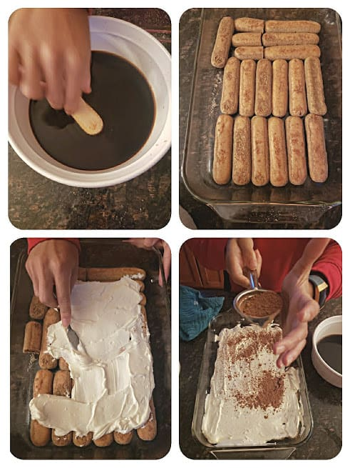 Process step collage showing four major steps involved in making layered tiramisu at home.