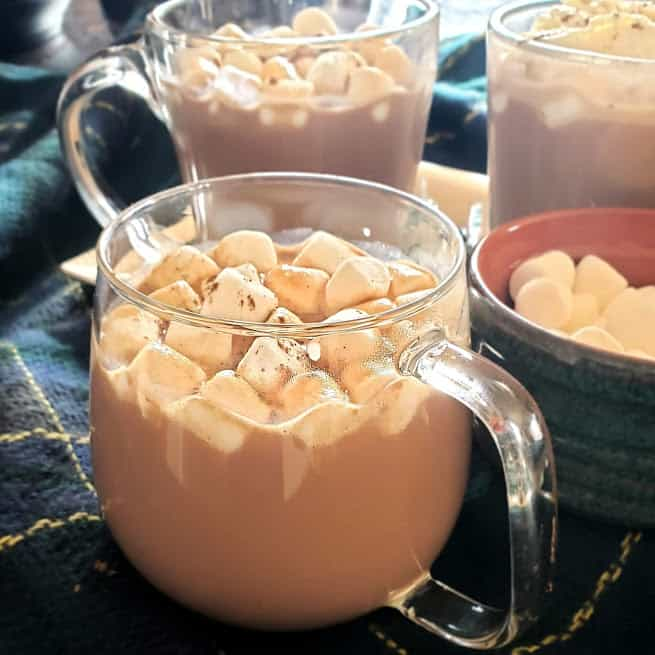 A close up of a mug filled with drinking chocolate and topped with marshmallows.