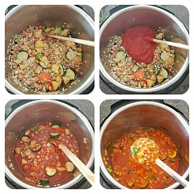 Process step collage showing four major steps in making this recipe.