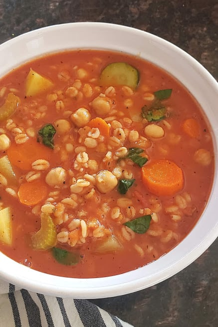 Chunky vegetables and pearl barley in rich tomato broth.