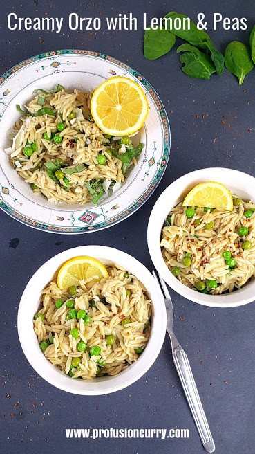 Pinterest image with text overlay for Creamy Orzo pasta with lemon and peas.