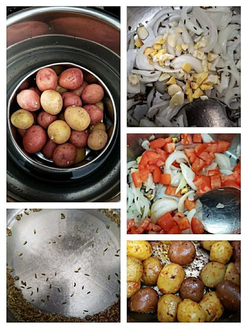 Process stot collage showing major steps involved in making this Indian potato curry recipe.