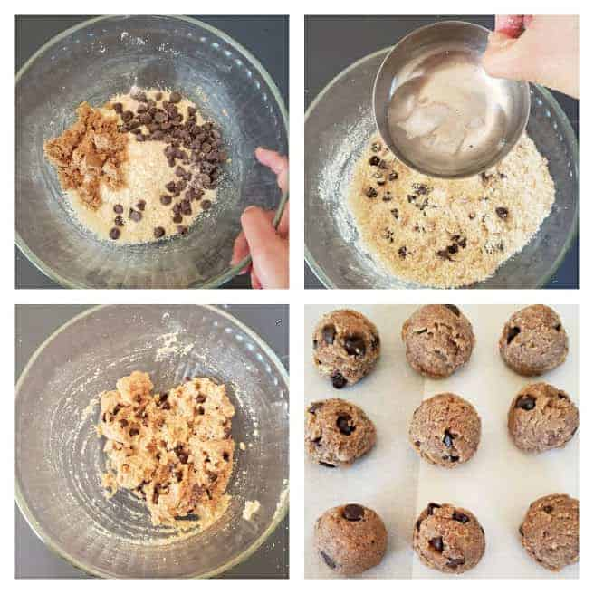 Process Step collage showing 4 different steps involved in making this no bake , easy dessert recipe.