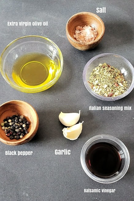 Ingredients used in making this light appetizer recipe.