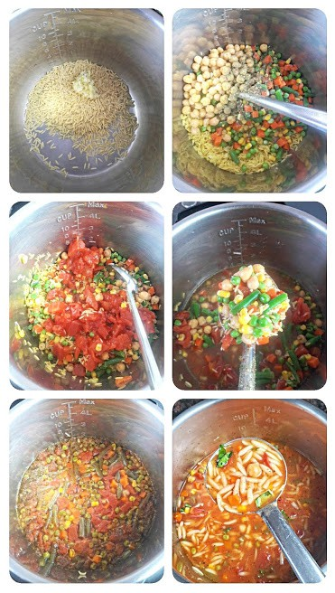 Process step collage showing major steps involved in making this one pot healthy vegetable pasta soup.
